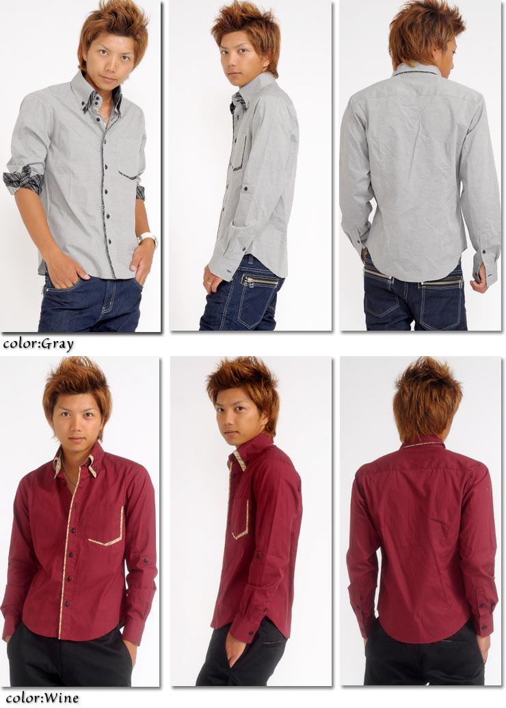 シャツ,メンズ,長袖,2枚襟,カジュアルシャツ,モテ服